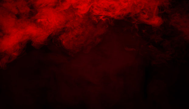 Red smoke stage studio. Abstract fog texture.