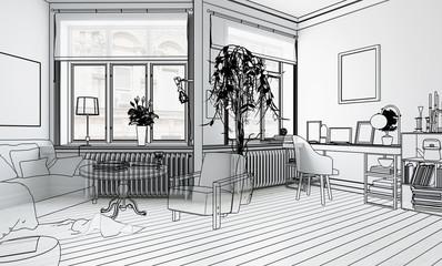 Möbliertes Wohnzimmer (Planung) - 3d Illustration
