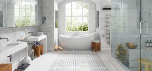 Renovation of an old building bathroom (panoramic) - 3d visualization