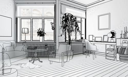 Möbliertes Wohnzimmer (Planung) - 3d Illustration\