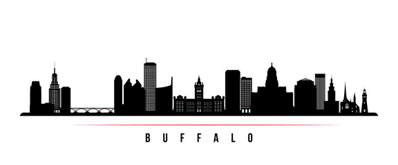 Buffalo city skyline horizontal banner. Black and white silhouette of Buffalo USA city. Vector template for your design.