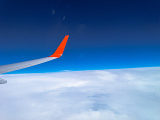 airplane summer travel sky clouds