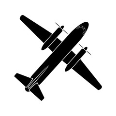 Air transport, simple image of twin-engine propeller aircraft