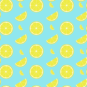 Lemon seamless pattern with half and slice