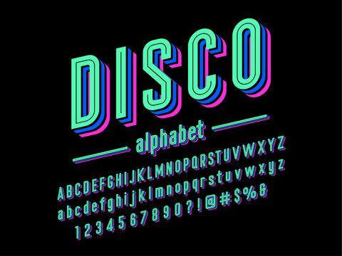 Colorful layered line style alphabet design