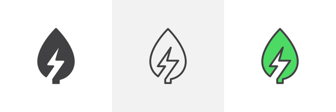 Green energy icon. Line, glyph and filled outline colorful version, Leaf with lightning bolt outline and filled vector sign. Symbol, logo illustration. Different style icons set. Vector graphics