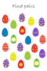 Find pairs of identical pictures, fun education game with easter eggs for children, preschool worksheet activity for kids, task for the development of logical thinking, vector illustration