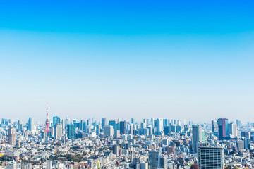 Fototapete - city skyline aerial view of tokyo tower in Japan
