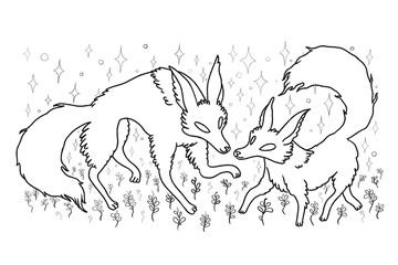 two foxes in nature pencil sketch