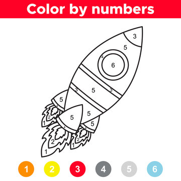 Color by number for preschool and school kids. Coloring page or book with cartoon rocket. Space day. Vector illustration.