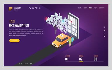 Design website or landing page template. Minimal modern concept for gps navigation, digital online map. Isometric vector illustration.