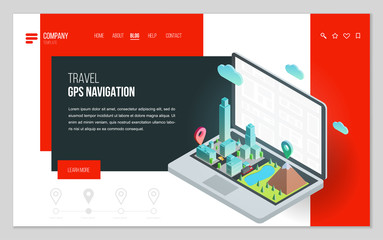 Design website or landing page template. Minimal modern concept for gps navigation, digital online map. Isometric vector illustration.
