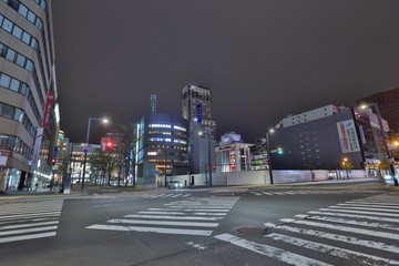 Cityscape of Down town Sapporo, Japan.
