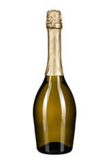 bottle of champagne isolated on white