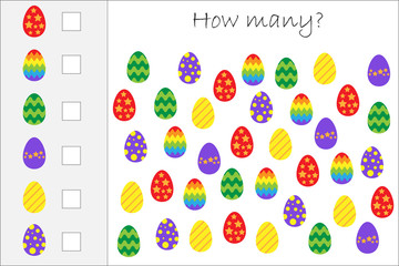 How many counting game with easter eggs for kids, educational maths task for the development of logical thinking, preschool worksheet activity, count and write the result, vector illustration