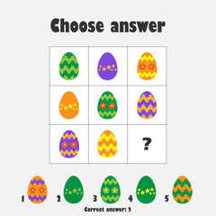 Choose correct answer, IQ test with easter eggs for children, fun education game for kids, preschool worksheet activity, task for the development of logical thinking, vector illustration