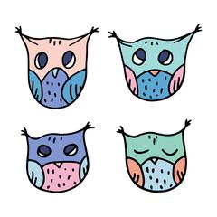 Papiers peints Creatures Cute Hand Drawn Owls Vector Set.