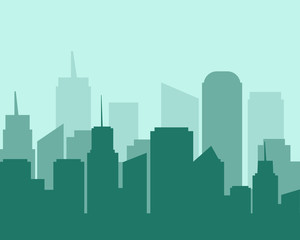 Flat design city landscape cityscapes green tone.
