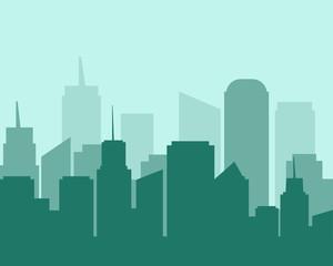 Flat design city landscape cityscapes green tone.