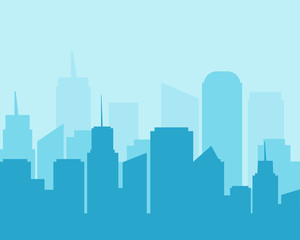 Flat design city landscape cityscapes blue tone.