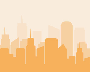 Flat design city landscape cityscapes orange tone.