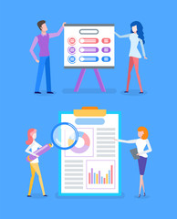 Presentation with explanation of infocharts and infographics vector. People working on optimization of business learning diagrams and charts schemes