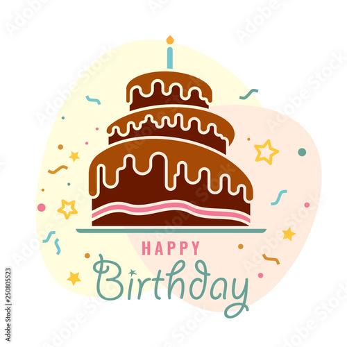 Happy Birthday Birthday Chocolate Cake With Burning Candles Sign