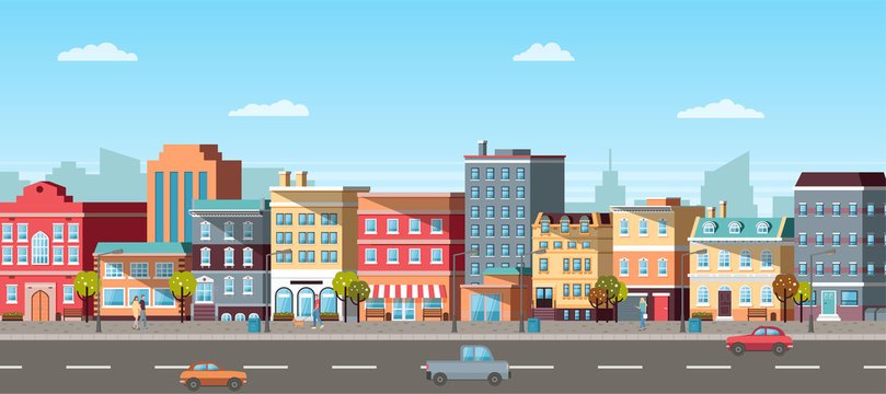 Urban landscape with infographic elements. Modern city, running cars on road, going pedestrians, colorful buildings, cloudy sky, 3d panoramic view vector