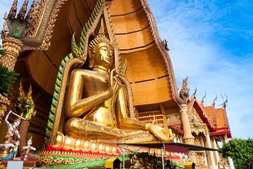 Big golden Buddha in Wat Tham Sua, Kanchanaburi Thailand.