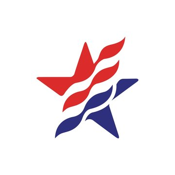 star flag logo stripes design elements vector icons