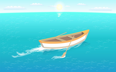 Fishing boat with oars leaves trace in sea or ocean, marine traveling vessel. Fisher ship sailing in deep blue waters at skyline, sun and sky vector