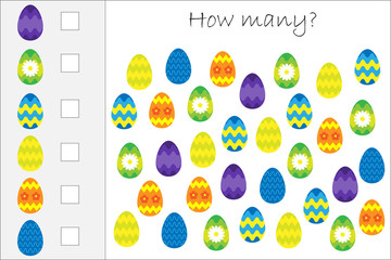 How many counting game with decoration easter eggs for kids, educational maths task for the development of logical thinking, preschool worksheet activity, count and write result, vector illustration