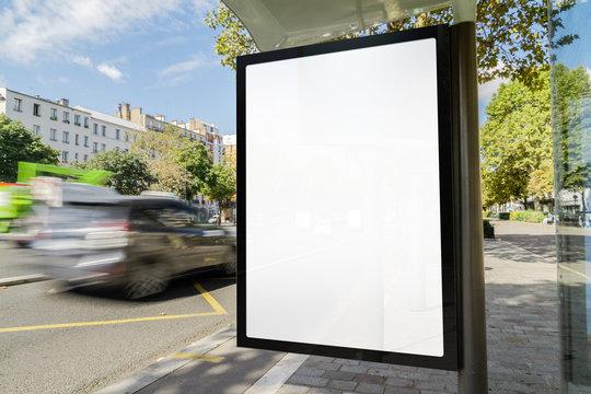 Outdoor bus stop advertisement mockup