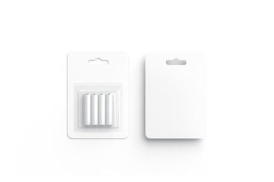 Blank white battery in cardboard pack mockup, front and back, isolated, 3d rendering. Empty batteries in plastic box mock up, top view. Clear disposable accumulator with wrapping template.
