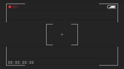 Video camera viewfinder overlay. 16:9 full hd format of frame template. Camera frame vector template. White lines and text, rec icon with timing on black background with scanlines.