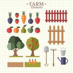 Illustration with farm elements and different kinds of food and animals from farm