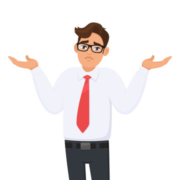 Oops. Sorry. I don't know. Portrait of confused young businessman shrugging shoulders, shows helpless question gesture, spread his hands, he does not know what to do, concept illustration in cartoon.