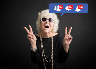Old woman still rocking and being active on social media