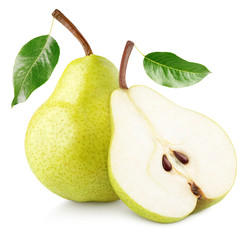 Green yellow pear fruit with pear half and green leaves isolated on white background with clipping path. Full depth of field.