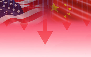 Trade war economy USA America and China flag candlestick graph Stock market exchange analysis