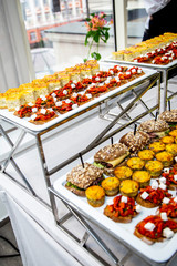 bruschetta on grilled bread with soft cheese and vegetable ratatouille, quiche loren and mini burger with veal pastry, cheese, mustard sauce at catering event on some festive event, party or wedding