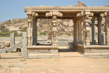Temples and ruins in Hampi in India