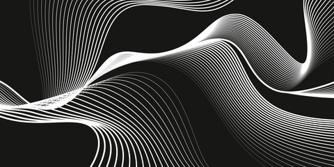 Waves of white lines. Monochrome background, black backdrop, abstract dark wallpaper, vector design