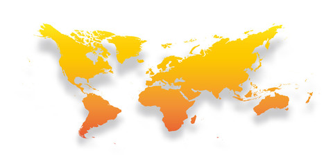 Wall Mural - Map of World. Simple yellow-orange gradient silhouette with dropped shadow isolated on white background. Vector illustration