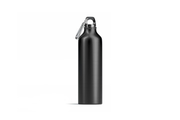 Blank black metal sport bottle mock up, isolated, front view, 3d rendering. Empty steel cam mockup. Clear travel flask with liquid for hiking or alpinism template.