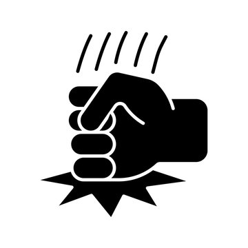 Fist on table glyph icon