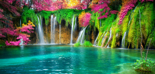 Waterfall landscape of Plitvice Lakes Croatia. Wall mural