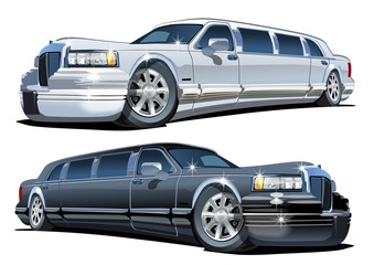 Vector Cartoon limousines set isolated on white