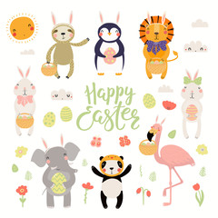 Set of cute animals flamingo, bunny, penguin, sloth, lion, panda, elephant, eggs, text Happy Easter. Isolated objects. Hand drawn vector illustration. Scandinavian style flat design Concept for kids