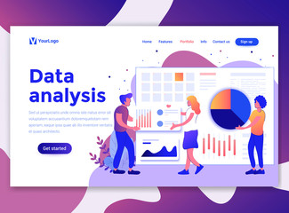 Landing page template of Data Analysis. Modern flat design concept of web page design for website and mobile website. Easy to edit and customize. Vector illustration